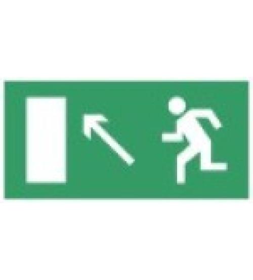 """Сфера (12В) """"Направление к эвакуационному выходу налево вверх"""" (плоское) Оповещатель охранно-пожарный световой (табло)"""
