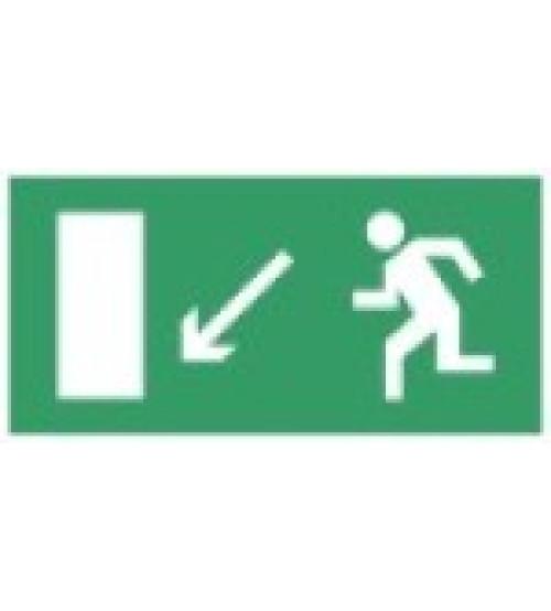 """Сфера (12В) """"Направление к эвакуационному выходу налево вниз"""" (плоское) Оповещатель охранно-пожарный световой (табло)"""