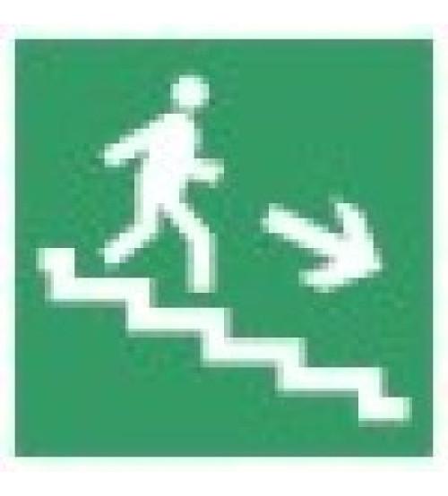 """Сфера (12В) """"Направление к эвакуационному выходу по лестнице вниз"""" (плоское) Оповещатель охранно-пожарный световой (табло)"""